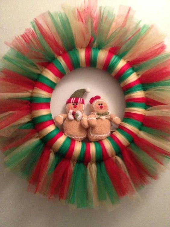 20 corona de navidad con tul - Guirnaldas De Navidad