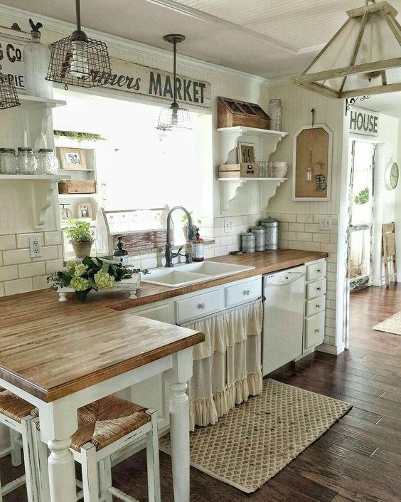 25 cocina vintage blanca - Cocinas Vintage
