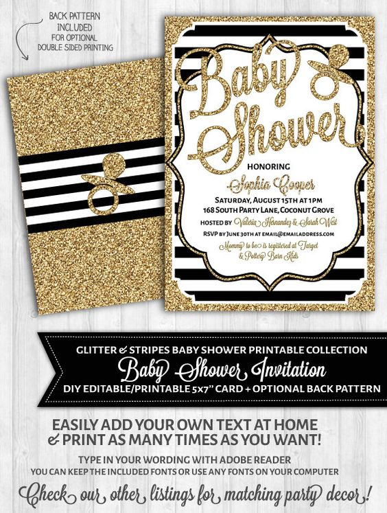 56 INVITACIONES BABY SHOWER GLAMOROSO