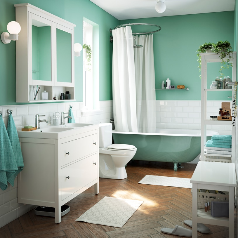 baño en verde pastel
