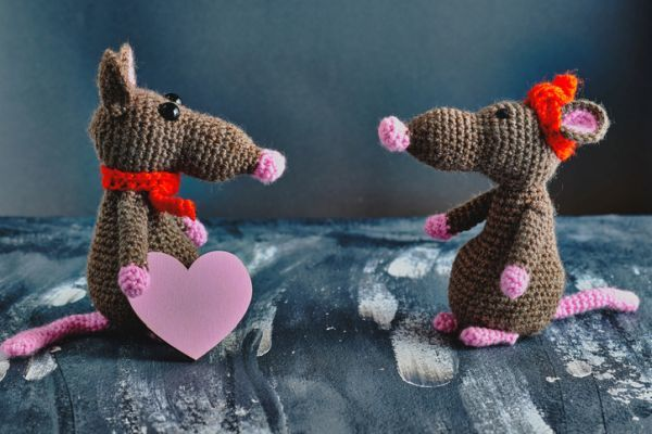 Amigurumi de ratitas enamoradas
