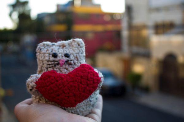 Gatito de San Valentín amigurumi