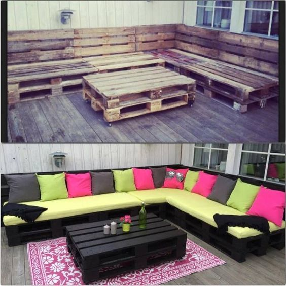 Una foto del antes y el después que muestra cómo un poco de pintura y cojines pueden cambiar totalmente el aspecto de un salón de jardín