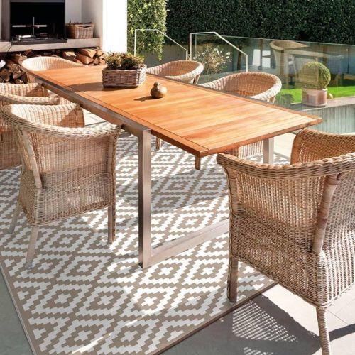 Mesa rectangular de madera para jardín