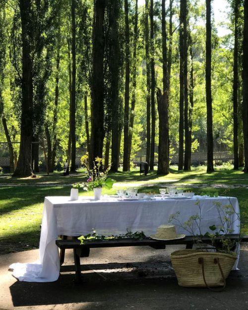 Mantel blanco mesa de campo